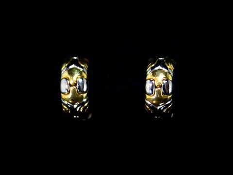 18k Yellow Gold/Stainless Steel Bvlgari 'Alveare' Hoop Omega Earrings