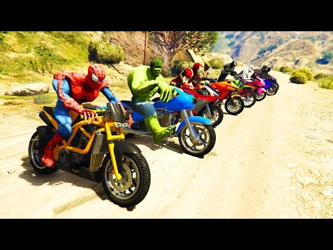 COLOR MotorCycles Jumping In Grand Canyon With Superheroes! Cartoon Video For Kids