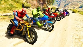 Download Video COLOR MotorCycles Jumping in Grand Canyon with superheroes! Cartoon video for kids MP3 3GP MP4