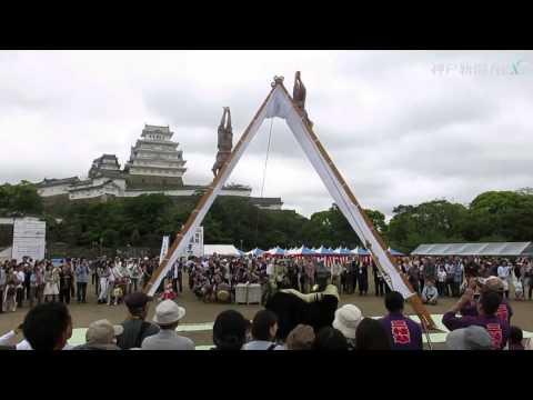姫路城バックに多彩な獅子舞披露
