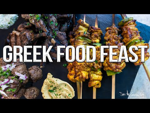 Greek Meat FEAST (Grilled Chicken, Lamb + Beef) | SAM THE COOKING GUY 4K