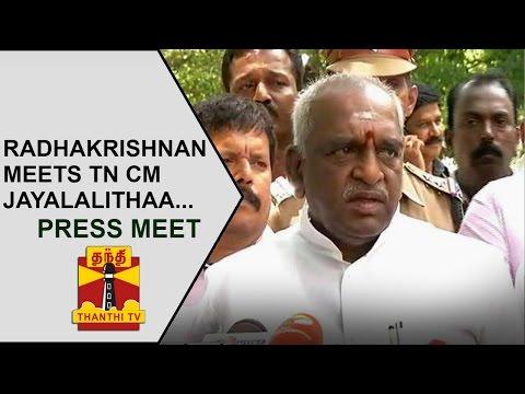 Pon-Radhakrishnan-addresses-Media-after-Meeting-CM-Jayalalithaa-PRESS-MEET-Thanthi-TV