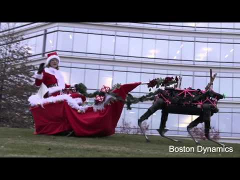 Boston Dynamics Holiday Video Three Robotic Reindeer Pulling Santa on Her