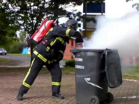 FireBug BacPac rapidly extinguishing a bin fire