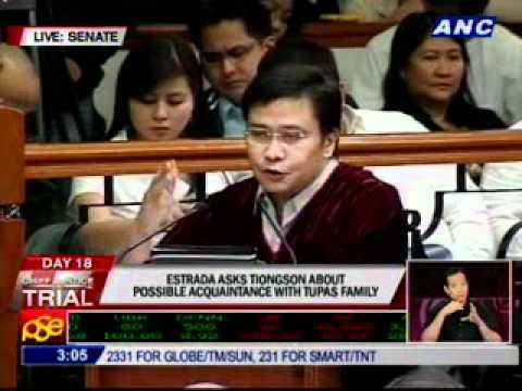Estrada to Tiongson: Are you acquainted with any member of the Tupas family?