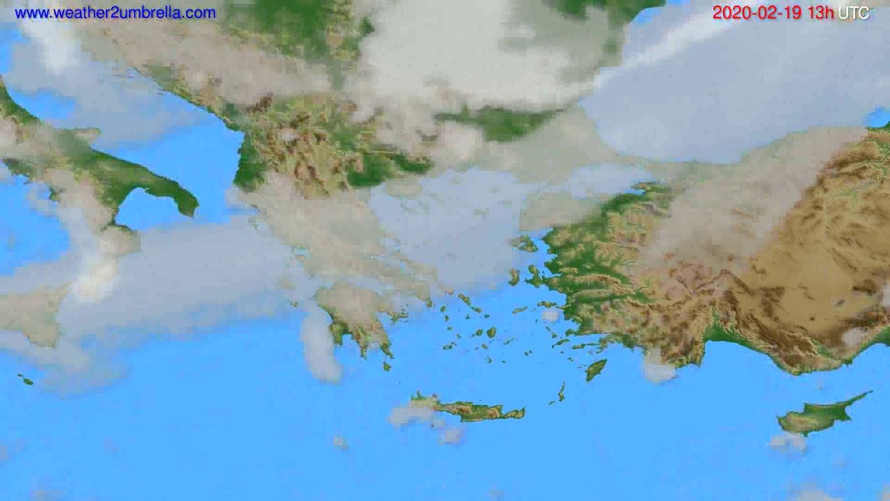 Cloud forecast Greece // modelrun: 12h UTC 2020-02-18