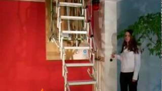 Демонстрация лестницы Roto  Scherentreppe ELECTRO