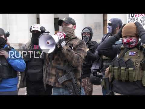 USA: Armed demonstrators gather at Ohio Statehouse ahead of Biden's inauguration