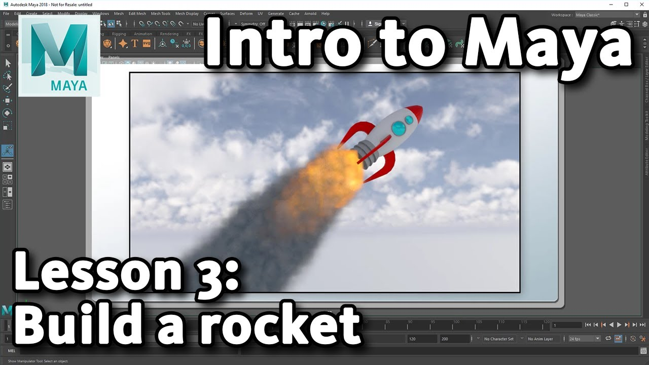 building rocket 3d maya tutorial