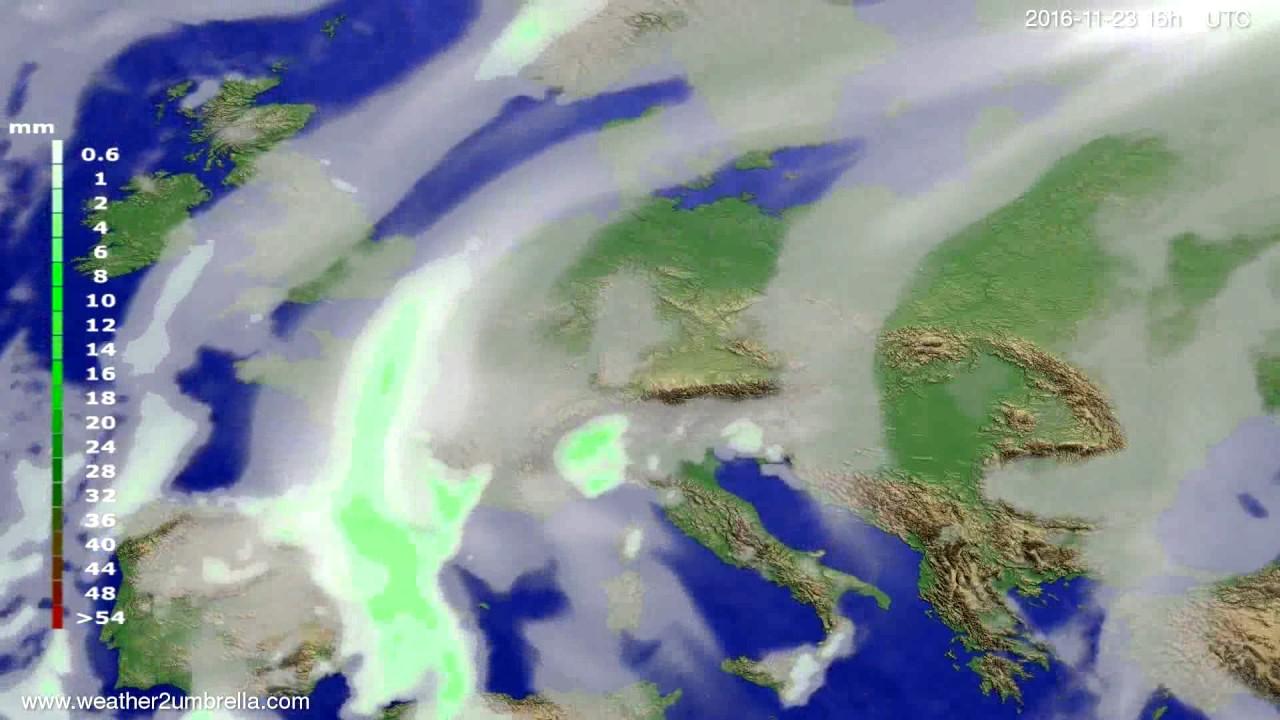 Precipitation forecast Europe 2016-11-20