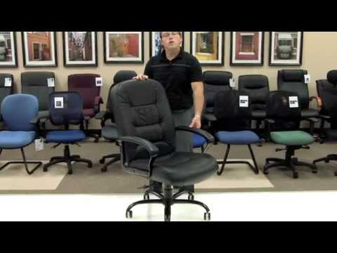 Video for Black Leather Big and Tall Desk Chair