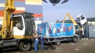 Annoyed Crane Operator Destroys Ice Cream Truck Blocking Road