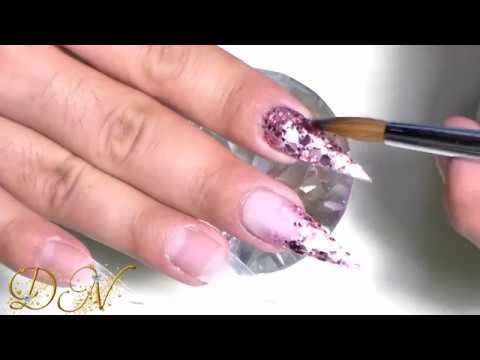 Uñas acrilicas Rosa palo # brillosas + Flores 3D # Coral