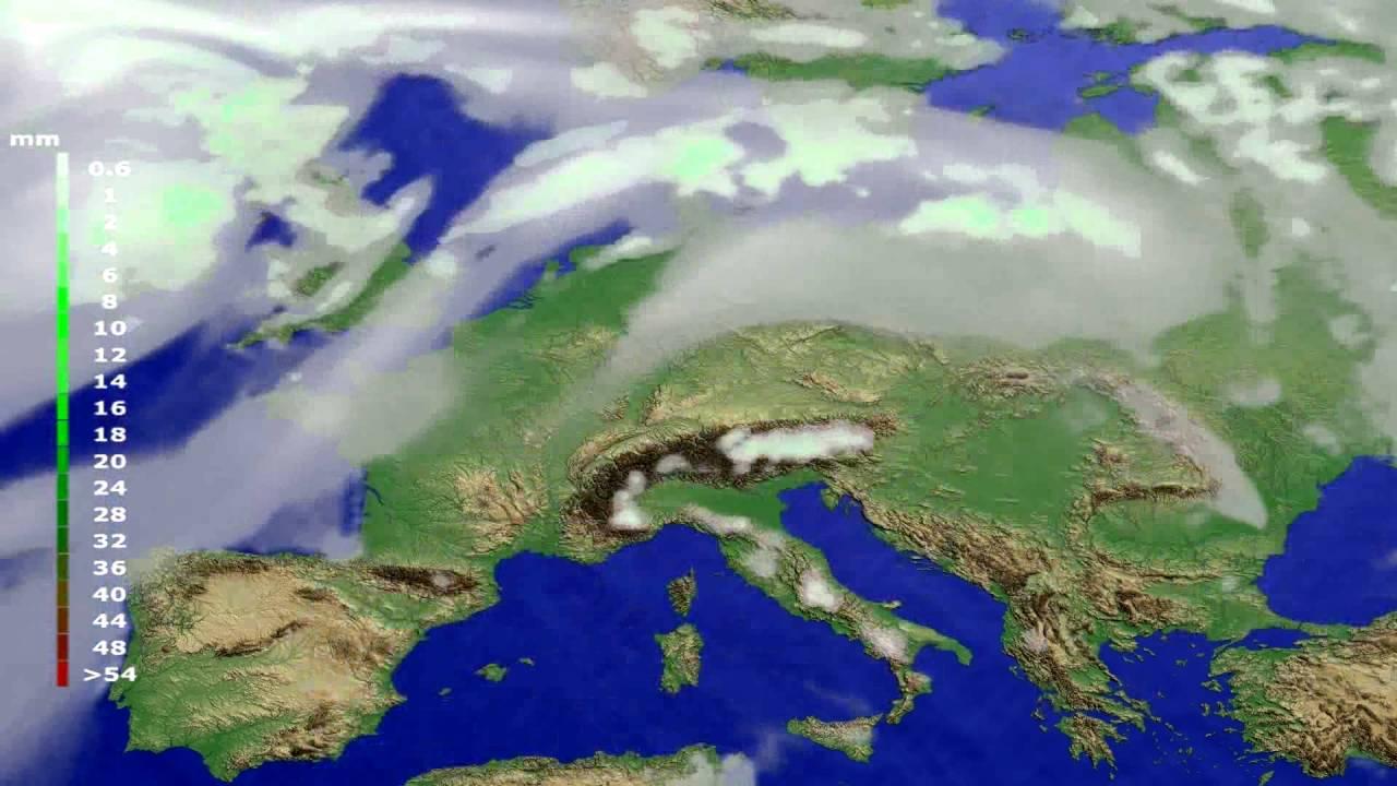 Precipitation forecast Europe 2016-07-08