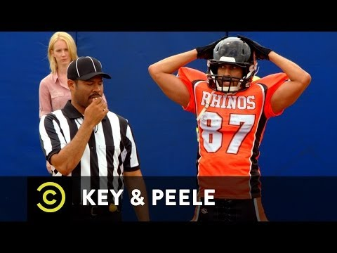Key - Hingle McCringleberry struggles to contain himself after scoring a touchdown. New episodes Wednesdays 10:30/9:30c on Comedy Central.