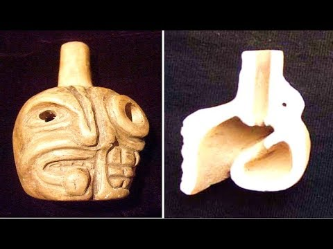 Aztec death whistle makes the sound of a human screaming in agony (whistle at 2:23)