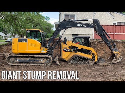 How To Dig Out Huge Stumps with Mini Excavator