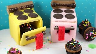 For the printable recipe click here: http://bit.ly/2hKOLga Today I made completely edible, no bake miniature cookie ovens using ...