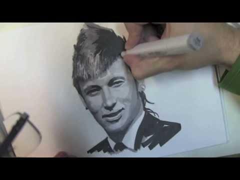 Wie zeichnet man ein Gesicht mit Filzstiften – Neymar – Online Zeichnen Lernen