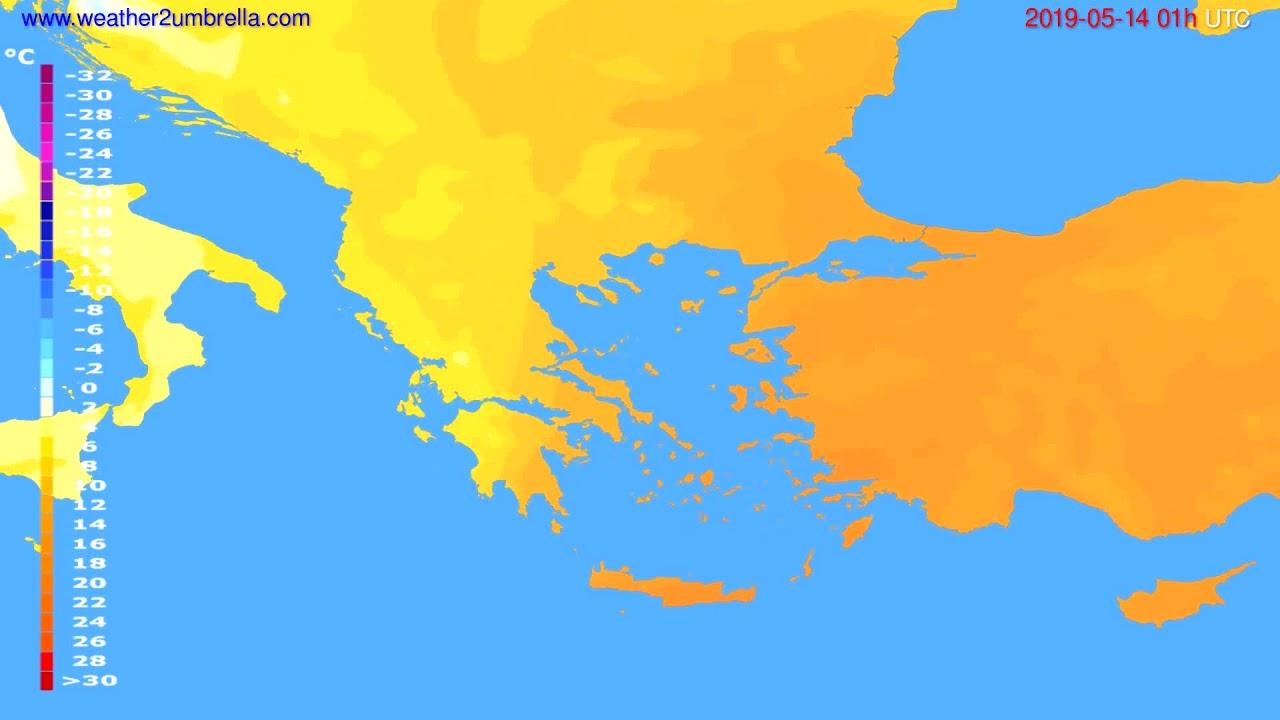 Temperature forecast Greece // modelrun: 00h UTC 2019-05-12