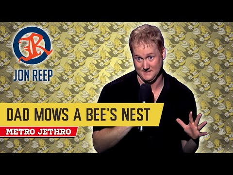 David Reep mows a bee's nest