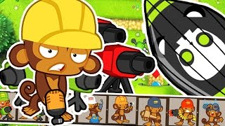 MONKEY ENGINEER TURRET CHALLENGE! - BLOONS TOWER DEFENSE FIVE