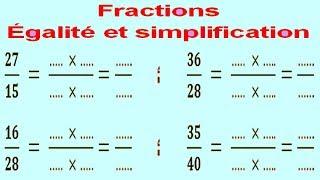 Maths 6ème - Fractions égalité et simplification Exercice 1