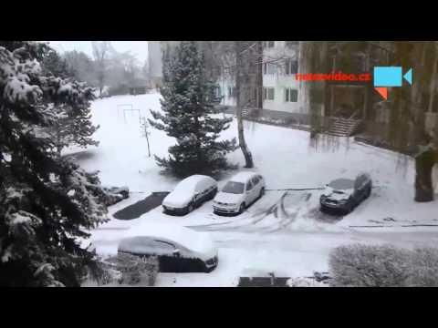 První sníh v Ústí n. Labem 22.1. 2014