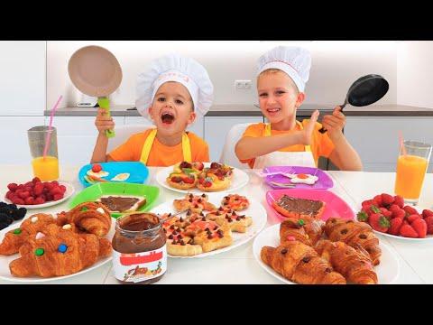 Vlad and Niki make breakfast for mom