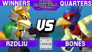 This Super Smash Bros. Melee tournament match features R2DLiu as Fox vs Bones as Falco. This Winners Quarters match at SMASHADELPHIA 2017 was livestreamed on 06/24/17.Enjoy the video? Hit the like button and drop a comment and let us know your favorite part. Share it with your friends and spread the hype!Check out our website:► http://clashtournaments.comWatch our live streams:► http://twitch.tv/clashtournaments► http://hitbox.tv/clashtournamentsFind us on social media:► http://facebook.com/clashtournaments► http://youtube.com/clashtournaments► http://twitter.com/clashtournament► http://instagram.com/clashtournamentsBe sure to Follow and Subscribe to us to keep up to date on all of our content. Click the bell next to the subscribe button to receive instant notifications on all uploads!