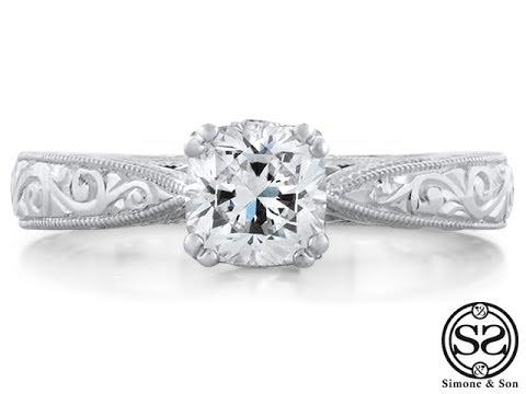 Custom Hand Engraved Engagement Ring