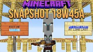 Minecraft 1.14 Snapshot 18w45a Scaffolding, Illager Patrols & Editable Signs!