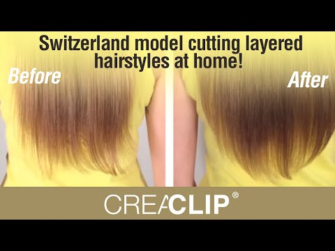 Switzerland model cutting layered hairstyles at home! Long Bangs & Layers