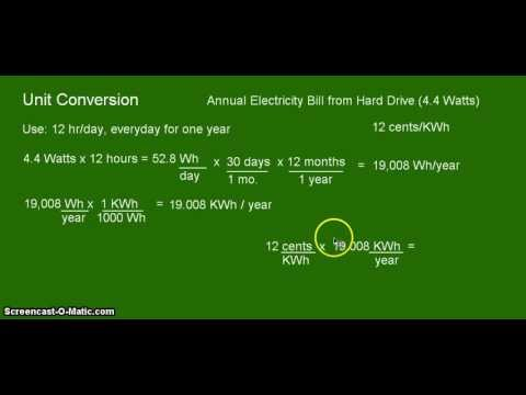 Unit Conversion: Watts to KWh for a hard drive
