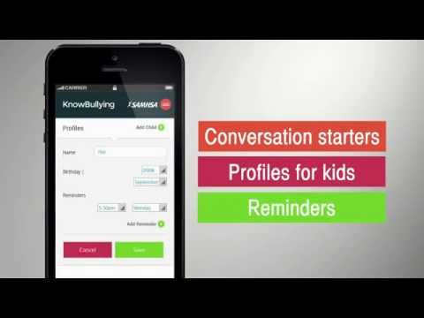 KnowBullying by SAMHSA is a free app that encourages conversation between you and your children. The time you spend will build their self-esteem and help them face bullying—whether they are being bullied, engaging in bullying, or witnessing bullying. Download the app:http://store.samhsa.gov/apps/bullying/.