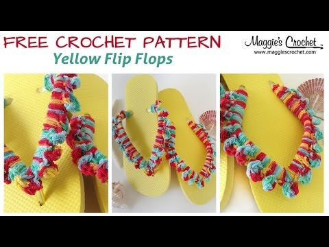 Yellow Flip Flop Free Crochet Pattern - Right Handed