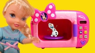 "This nice toy doll play video shows the main characters dolls from the Disney's movie ""Frozen"" , Elsa and Anna, toddlers and Olaf, playing together and having fun ! But oh no curious Olaf can't help but go in Minnie's Magical Microwave and shrinks himself! Can Elsa use her ice powers to unshrink him? Watch the video and enjoy their playing adventures !Hyperfun by Kevin MacLeod is licensed under a Creative Commons Attribution license (https://creativecommons.org/licenses/by/4.0/)Source: http://incompetech.com/music/royalty-free/index.html?isrc=USUAN1400038Artist: http://incompetech.com/"