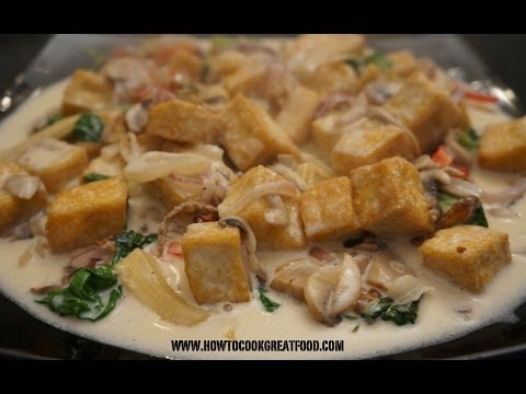 Asian Food – Tofu Mushrooms Coconut Milk Thai Basil Recipe Vegan cooking
