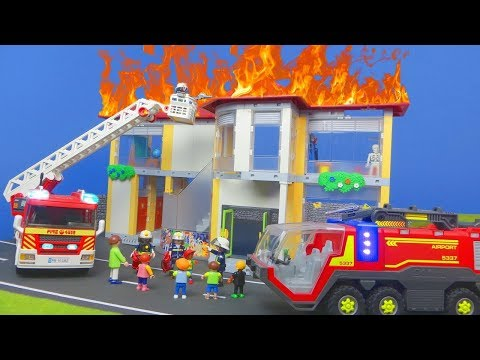 PLAYMOBIL firefighter movie English: FIRE in the SCHOOL BATHROOM| kid's movie kid's series for kids