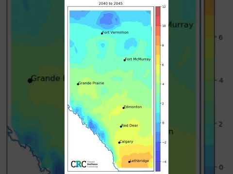 Mean annual temperature in Alberta 1950 - 2090