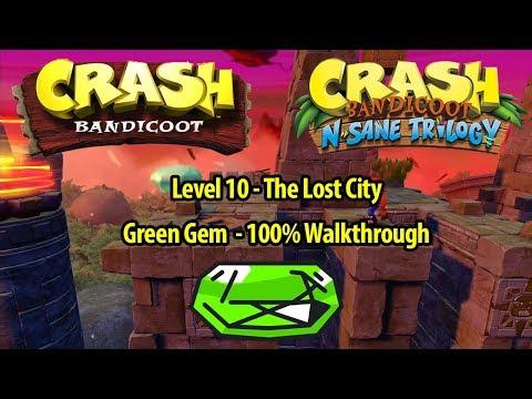 Crash Bandicoot 1 HD - The Lost City 100% Walkthrough - GREEN GEM LOCATION - N. Sane Trilogy