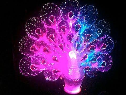 Смотреть онлайн видео Fiber Optic Peacock Rainbow Colors
