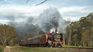 Castlemaine Australia  city photos : Australian Steam Trains: A red K190 runs a return Castlemaine service - 13.08.2016