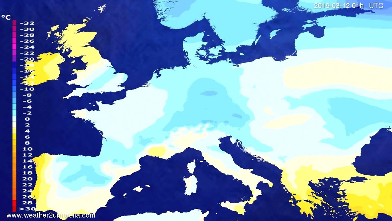 Temperature forecast Europe 2016-03-08