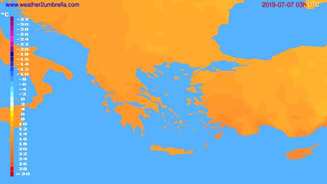 Temperature forecast Greece // modelrun: 00h UTC 2019-07-04
