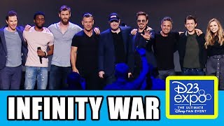 Marvel's Avengers Infinity War Cast Assemble at Disney's D23 Expo! Joining the stage were Robert Downey Jr's Iron Man, Tom Holland's Spider-Man, Chadwick Boseman's Black Panther, Mark Rufallo's Hulk, Chris Hemsworth's Thor, Sebastian Stan's Winter Soldier, Anthony Mackie's Falcon, Benedict Cumberbatch' Doctor Strange, Josh Brolin's Thanos, Paul Bettany's Vision, Don Cheadle's War Machine, Pom Klementieff's Mantis, Karen Gillan's Nebula & Dave Bautista's Drax. Subscribe for more! ► http://bit.ly/FlicksSubscribeRELATED VIDEOS--------------Spider-Man Homecoming Deleted Scenes ► http://youtu.be/bwLEyigYtd4Spider-Man Homecoming Easter Eggs ► http://youtu.be/M8UaqQqTy8AThor Ragnarok Trailer Easter Eggs ► http://youtu.be/wYPP_RtEnZIBlack Panther Trailer Easter Eggs ► http://youtu.be/xUEs9M18BjsPLAYLISTS YOU MIGHT LIKE------------------------Marvel ► http://bit.ly/MarvelVideosDC ► http://bit.ly/DCVideosFox Marvel Movies ► http://bit.ly/FoxMarvelVideosStar Wars ► http://bit.ly/StarWarsVidsAmazing Movie & TV Facts ► http://bit.ly/ThingsYouDidntKnowVideosMovie Deleted Scenes & Rejected Concepts ► http://bit.ly/MovieDeletedScenesEaster Eggs ► http://bit.ly/EasterEggVideosDisney Animation ► http://bit.ly/DisneyAnimationVideosPixar ► http://bit.ly/PixarVideosSOCIAL MEDIA & WEBSITE----------------------Twitter ► http://twitter.com/FlicksCityFacebook ► http://facebook.com/FlicksAndTheCityGoogle+ ► http://google.com/+FlicksAndTheCityWebsite ► http://FlicksAndTheCity.comAvengers: Infinity War is an upcoming American superhero film based on the Marvel Comics superhero team the Avengers, produced by Marvel Studios and distributed by Walt Disney Studios Motion Pictures. It is intended to be the sequel to 2012's Marvel's The Avengers and 2015's Avengers: Age of Ultron and the nineteenth film installment in the Marvel Cinematic Universe (MCU). The film is directed by Anthony and Joe Russo, with a screenplay by Christopher Markus & Stephen McFeely, and features an ensemble cast that includes Robert Downey Jr., Josh Brolin, Mark Ruffalo, Tom Hiddleston, Chris Evans, Chris Hemsworth, Jeremy Renner, Chris Pratt, Elizabeth Olsen, Sebastian Stan, Benedict Cumberbatch, Paul Bettany, Samuel L. Jackson, Cobie Smulders, Benedict Wong, Zoe Saldana, Karen Gillan, Vin Diesel, Dave Bautista, Pom Klementieff, Scarlett Johansson, Benicio del Toro, Tom Holland, Anthony Mackie, Chadwick Boseman, Danai Gurira and Paul Rudd. In Avengers: Infinity War, the Avengers join forces with the Guardians of the Galaxy to confront Thanos, who is trying to amass the Infinity Stones.The film was announced in October 2014 as Avengers: Infinity War – Part 1. The Russo brothers came on board to direct in April 2015 and by May, Markus and McFeely signed on to write the script for the film. In July 2016, Marvel shortened the titled to Avengers: Infinity War. Filming began in January 2017, at Pinewood Atlanta Studios in Fayette County, Georgia, and lasted until July 2017, shooting back-to-back with a direct sequel. Additional filming took place in Scotland, England, the Downtown Atlanta area and New York City.Avengers: Infinity War is scheduled to be released on May 4, 2018, in IMAX. An untitled sequel is scheduled to be released on May 3, 2019.