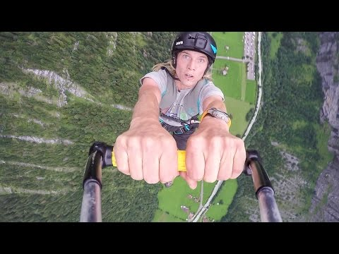 BASE Jumping from a Glider Swing