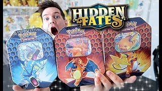 ALL 3 *BRAND NEW* HIDDEN FATES TIN OPENING!!! by Unlisted Leaf