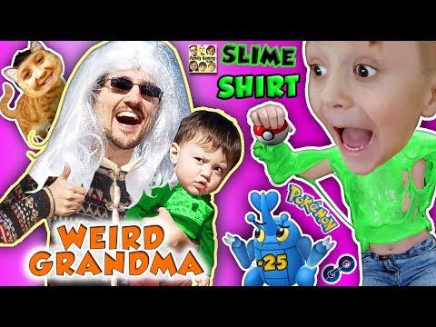 WEIRD GRANDMA & SLIMY GRANDSON! 5 Months of POKEMON GO #25 (FGTEEV Slime Shirt St. Lucia Recap) (видео)