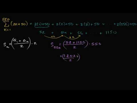 Worked Example Arithmetic Series Sigma Notation Video Khan